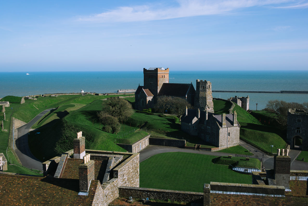 Architecture Beach Beauty In Nature Building Exterior Built Structure City Cultures Day Dover Castle High Angle View History Horizon Over Water Nature No People Old Ruin Outdoors Scenics Sea Sky Travel Destinations War Water Neighborhood Map