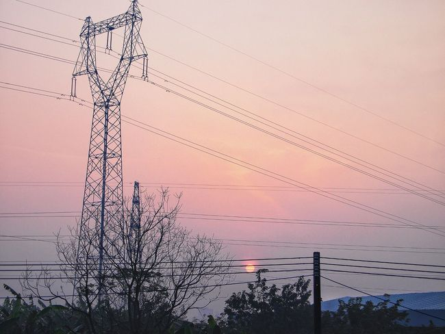Cable Electricity Pylon Electricity  Power Supply Power Line  Connection Fuel And Power Generation Sunset Silhouette Electricity Tower Technology Sky Tree No People Clear Sky Outdoors Nature Day