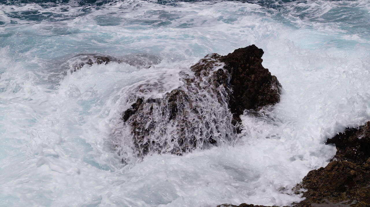 sea, nature, no people, beauty in nature, water, rock - object, motion, wave, outdoors, day