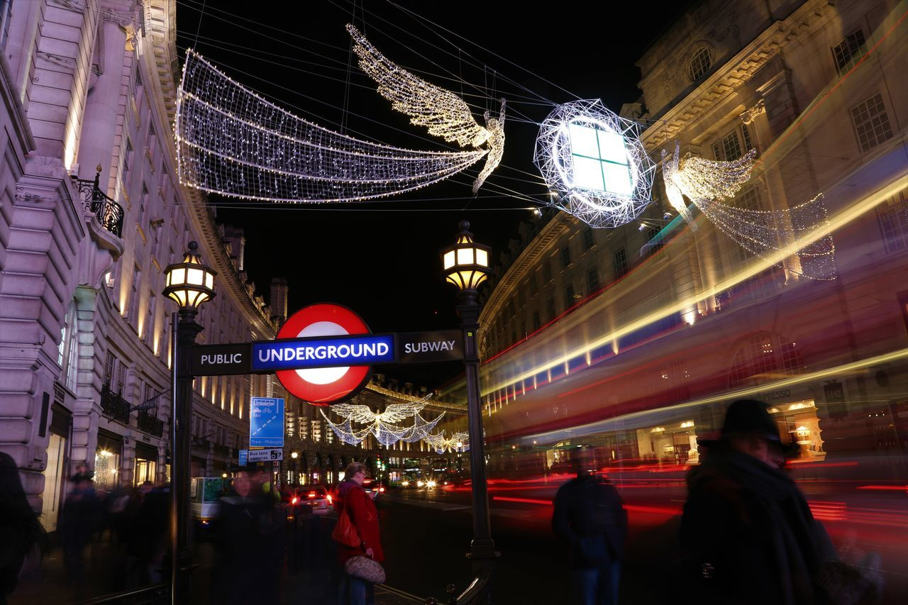 Adult Adults Only Angel Architecture Building Exterior Built Structure Christmas Lights City Crowd Cultures Illuminated London London Bus London Underground Night Nightlife Outdoors People Steps Tourist Travel Travel Destinations Women Horstromphotography