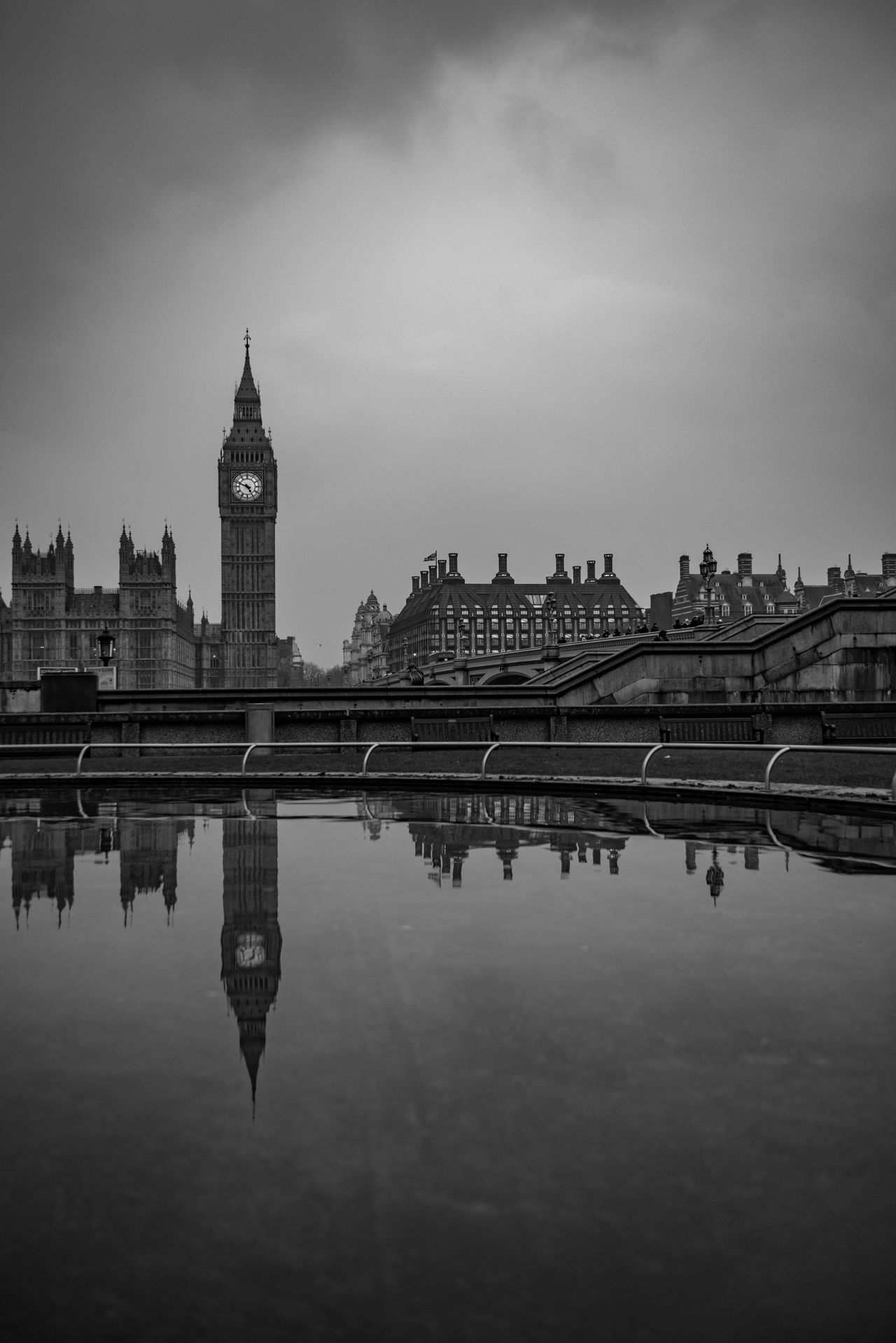 Big Ben, reflected in water Architecture Big Ben Black And White Britain Building Exterior Built Structure Capital City Clouds Copy Space Day Elisabeth Tower England Famous Place London No People Outdoors Reflection Sky Tourism Travel Destinations United Kingdom Water Waterfront Westminster