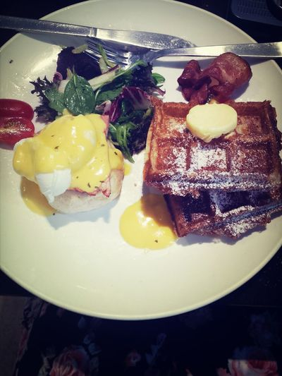 What happens when I have brunch: Really want to try eggs benedict, but always seduced by waffles. The.waffles.are.so.good. Nice quiet place to enjoy food and catch up <3 Food Hanging Out