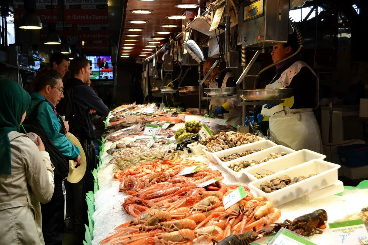 Abundance Arrangement Business Choice Collection Display Fish Market Food Food And Drink For Sale Fresh Market Fresh Prawn Fresh Seafood Indoors  Large Group Of Objects Lobster Market Market Stall Retail  Seafoods Still Life Variation