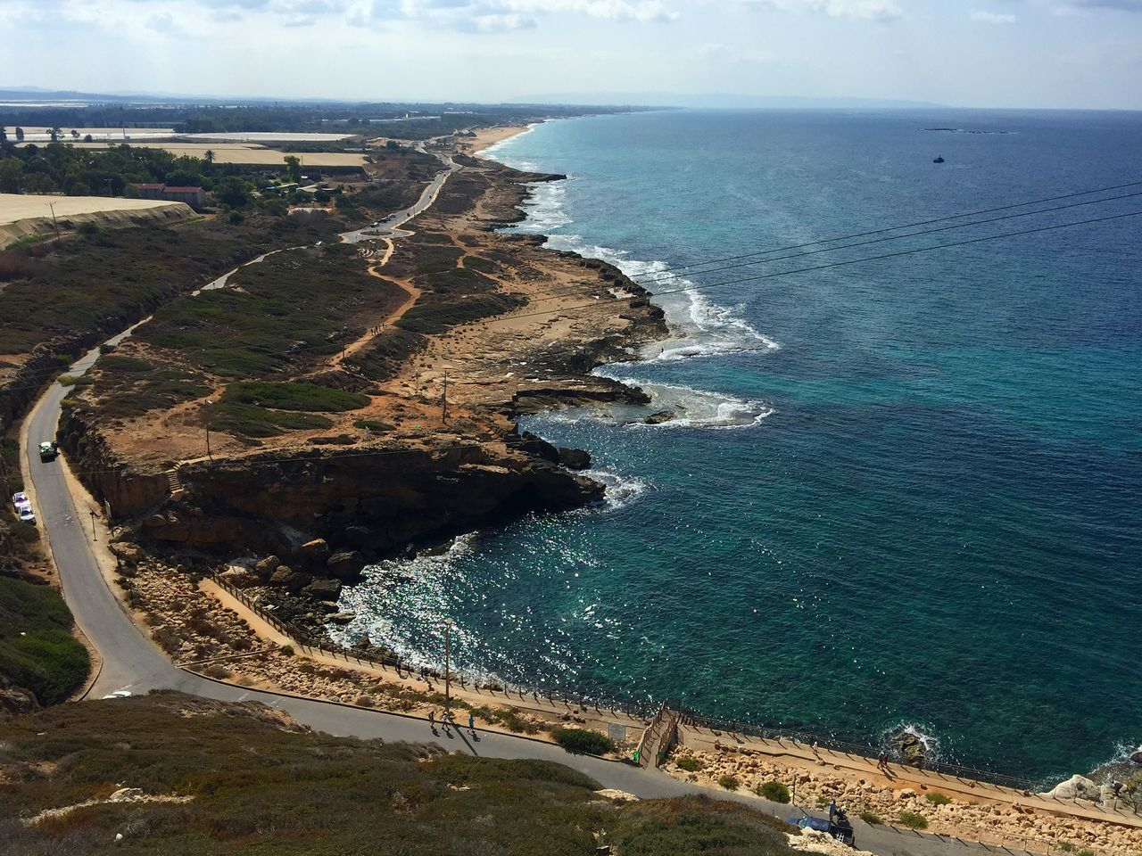 Scenic View Of Sea Seen From Mountain At Rosh Hanikra Grottoes