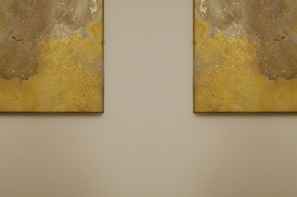 Symmetry Gold Colored No People Close-up Shiny Home Yellow Colors In The Corner Decoration Imagination Abstract Shapes And Forms Minimalism EyeEm Best Shots White Wall Warm Colors Glitter Art Work Hanging Shades Of Gold Festive Time Santa At Home Happiness Symmetric Celebration