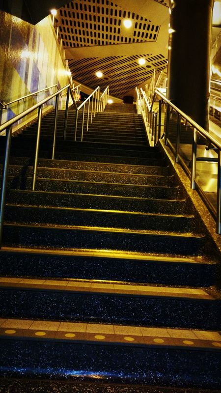 Stairs Stairway Lines Lines And Patterns Bus Station Toronto Colours And Light Lights And Colors Taking Photos Yellow Hues