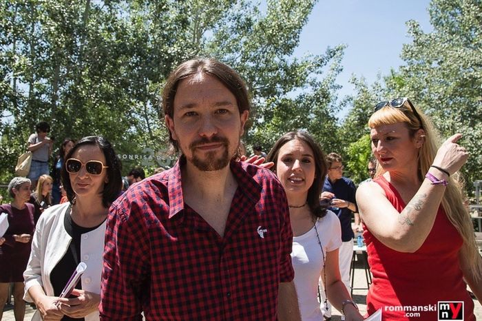 """Pablo Iglesias"" Podemos leader on presentation of electoral campaing in Spain 26J Rommanski Press Photopress Documentary Photojournalism Podemos"