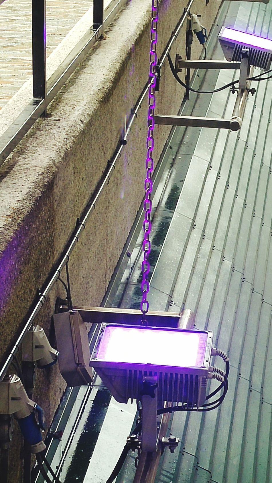 Uplighting Purple Light Purple Reflection Architectural Feature Purple Chain Light Reflection