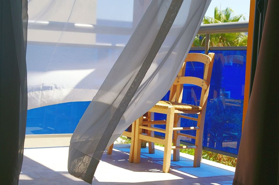 Chair Blue Balkon Greece Holiday Windblown Courtain Mediterran Wicker Chair Peace Seaside The Essence Of Summer The Essence Of Summer- 2016 EyeEm Awards Original Experiences On The Way My Favorite Place