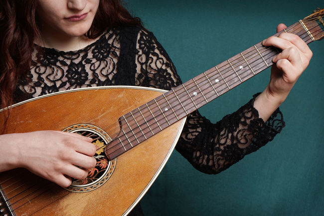 Folk Music Girl Guitar Instrument Lute Making Music Medieval Music Oud  Person Playing String Instrument Traditional Woman Young Adult