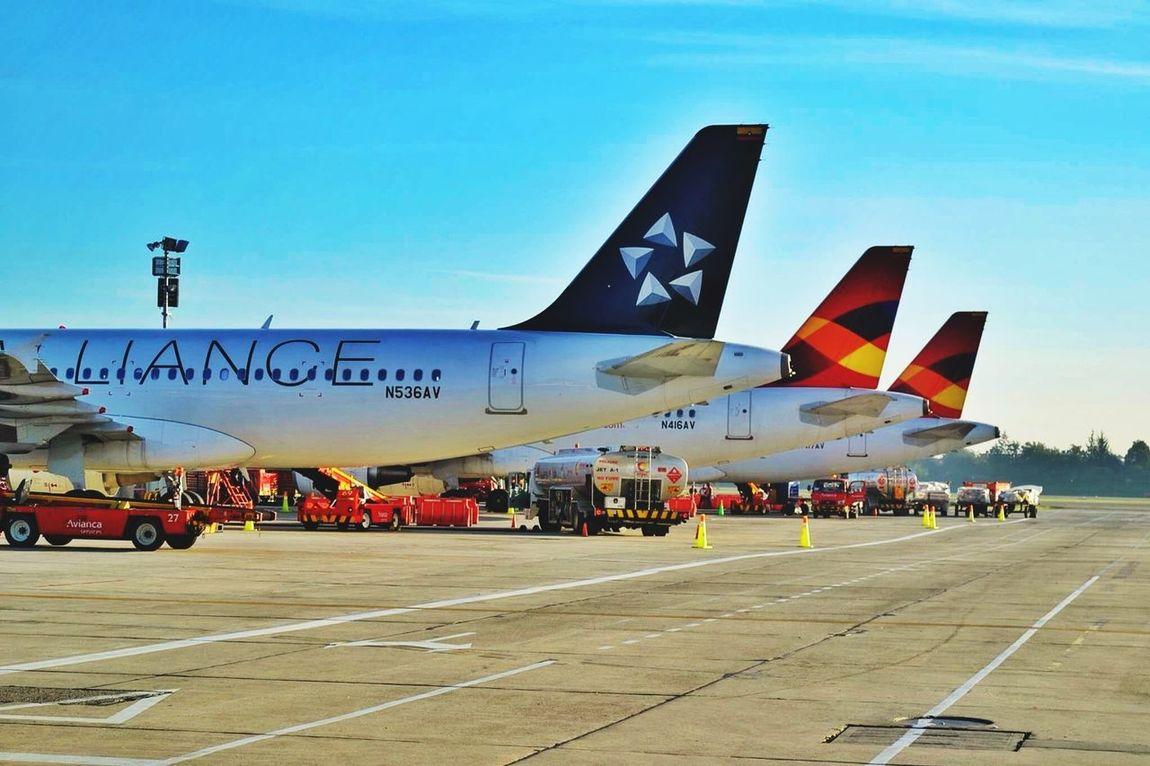 Avianca Line up of A320's at SKBO. Aviation