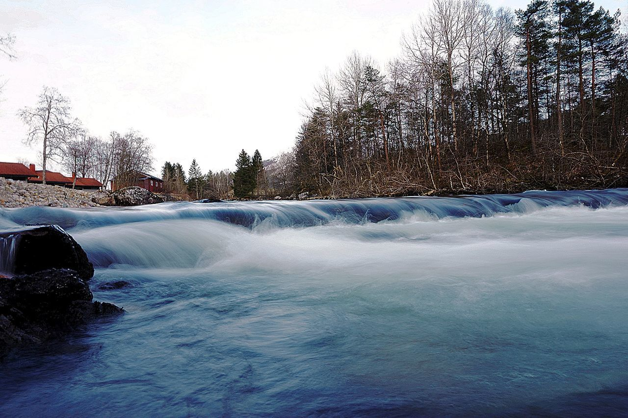 motion, tree, water, beauty in nature, nature, scenics, long exposure, waterfall, winter, no people, sky, cold temperature, outdoors, day, bare tree, snow