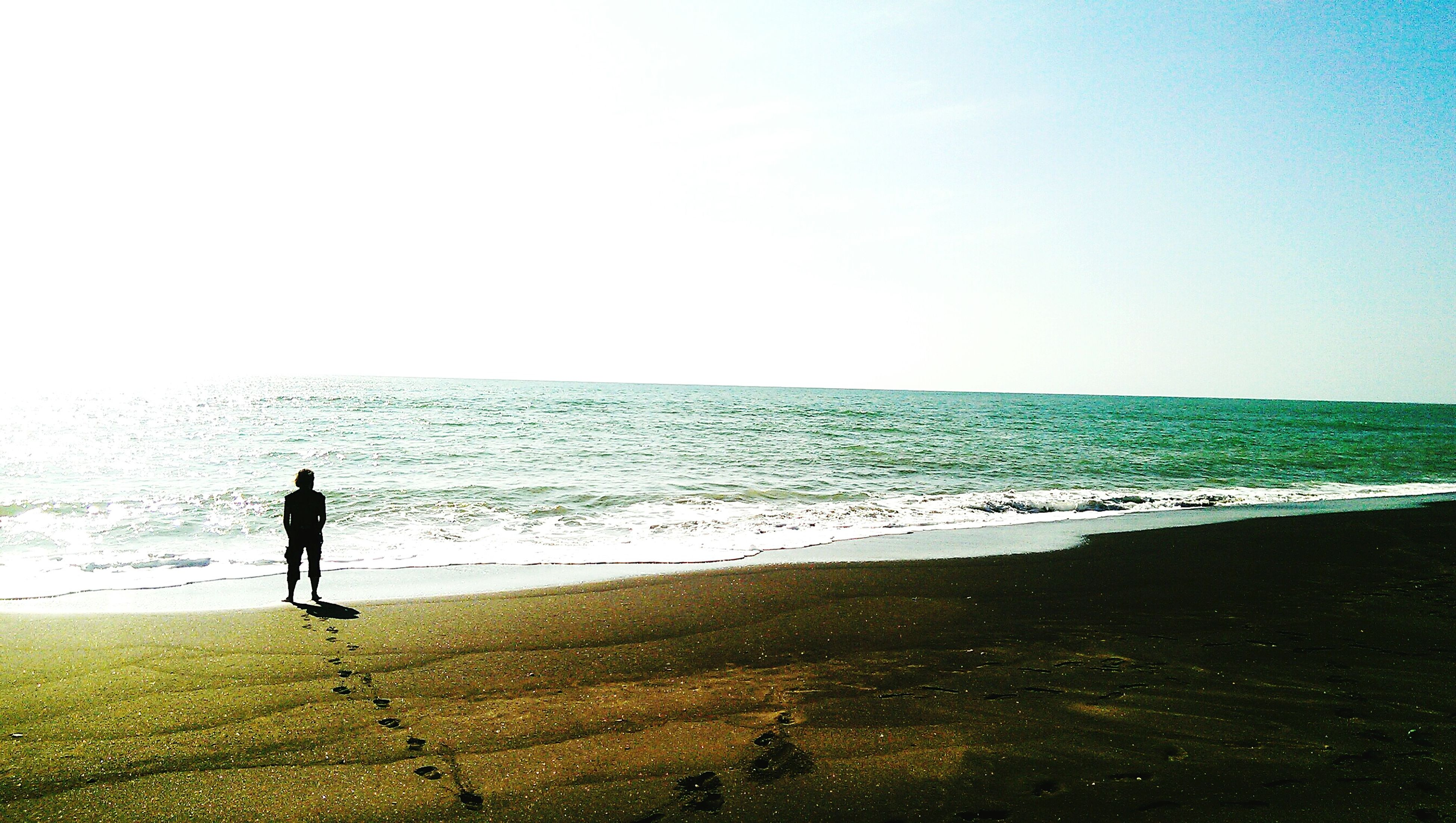 sea, horizon over water, water, beach, full length, standing, clear sky, lifestyles, leisure activity, copy space, men, scenics, walking, tranquil scene, rear view, shore, tranquility, beauty in nature