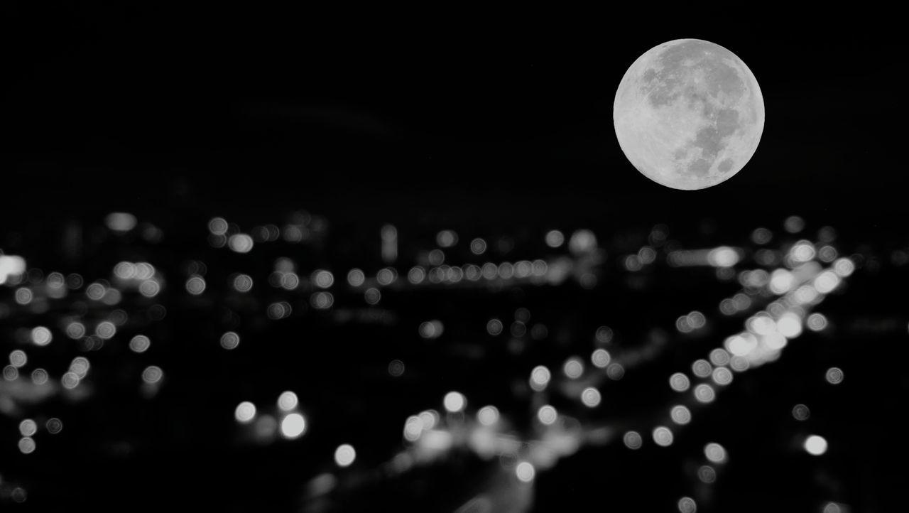 Moon Night Full Moon Circle Outdoors City Defocused Nature No People Moonlight Sky Bangkok Thailand. Town City Abstract Graphic Design Bokeh
