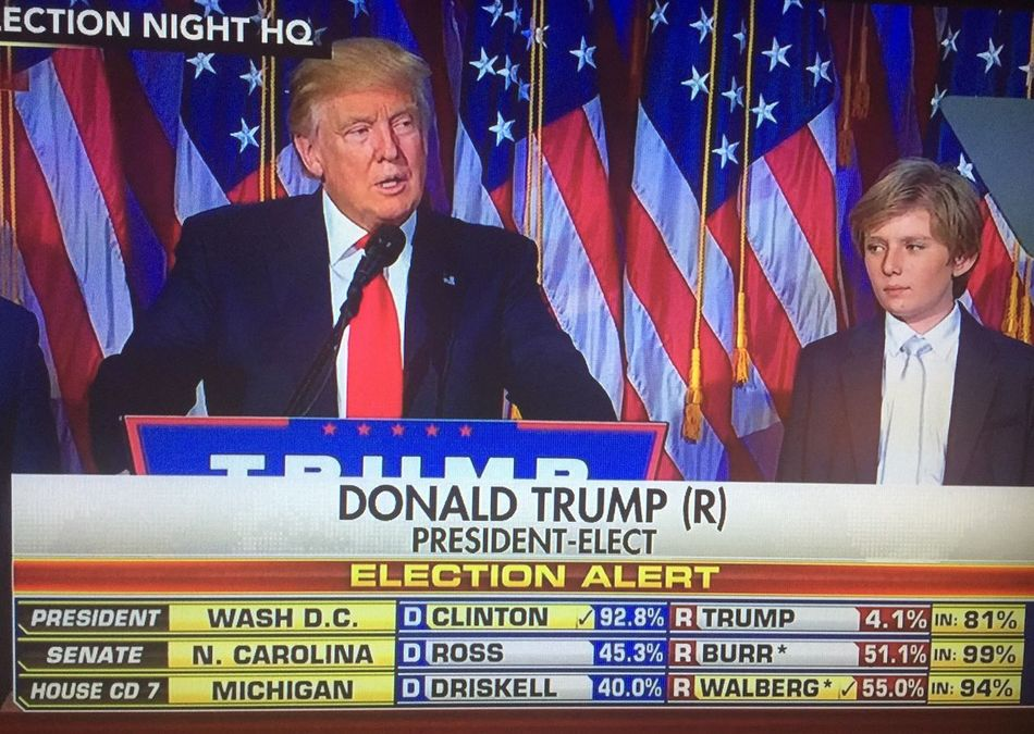 Snapped a pic from the TV for Historical reasons. Politics Flag Waist Up Microphone Election Politics And Government Indoors  Presidential Election 2016 President Next President Us Flags Family Democracy Politician Businessman EyeEm Eyeem Market Wins People Public Speaker Lord Help Us  God Bless America Enjoy The New Normal Who What Where What Who Where