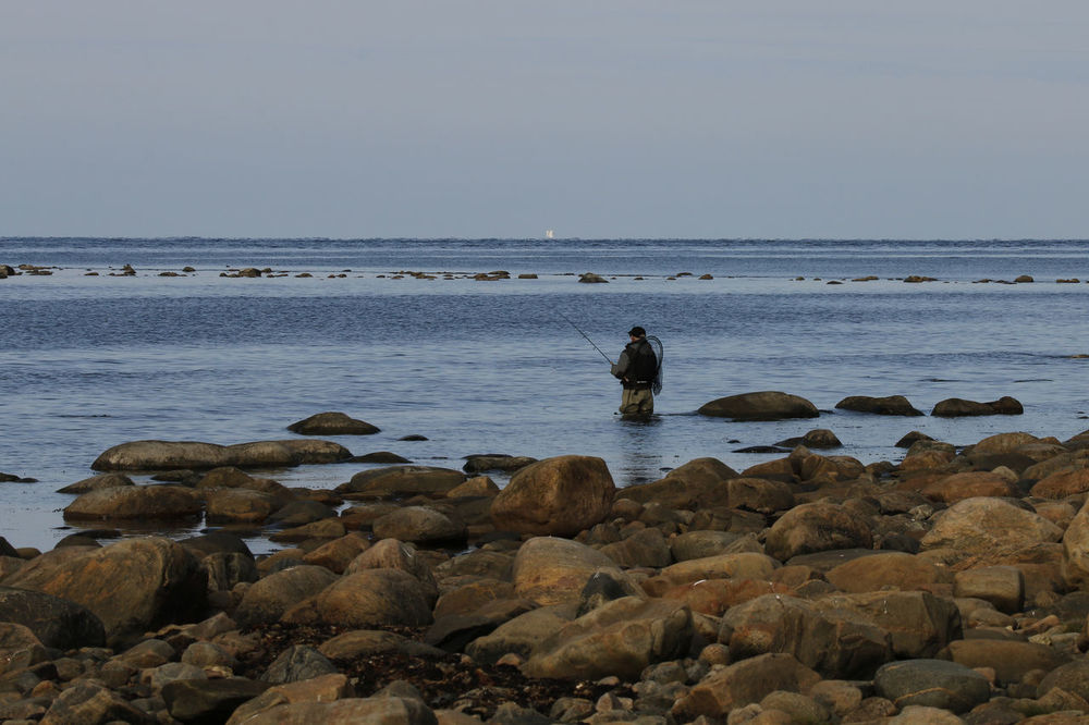 Beach Coast Fishing Flyfishing  Horizon Over Water Leisure Activity Morning Rock - Object Rock Formation Scenics Sea Seascape Sweden Tourism Vacations Water Weekend Activities
