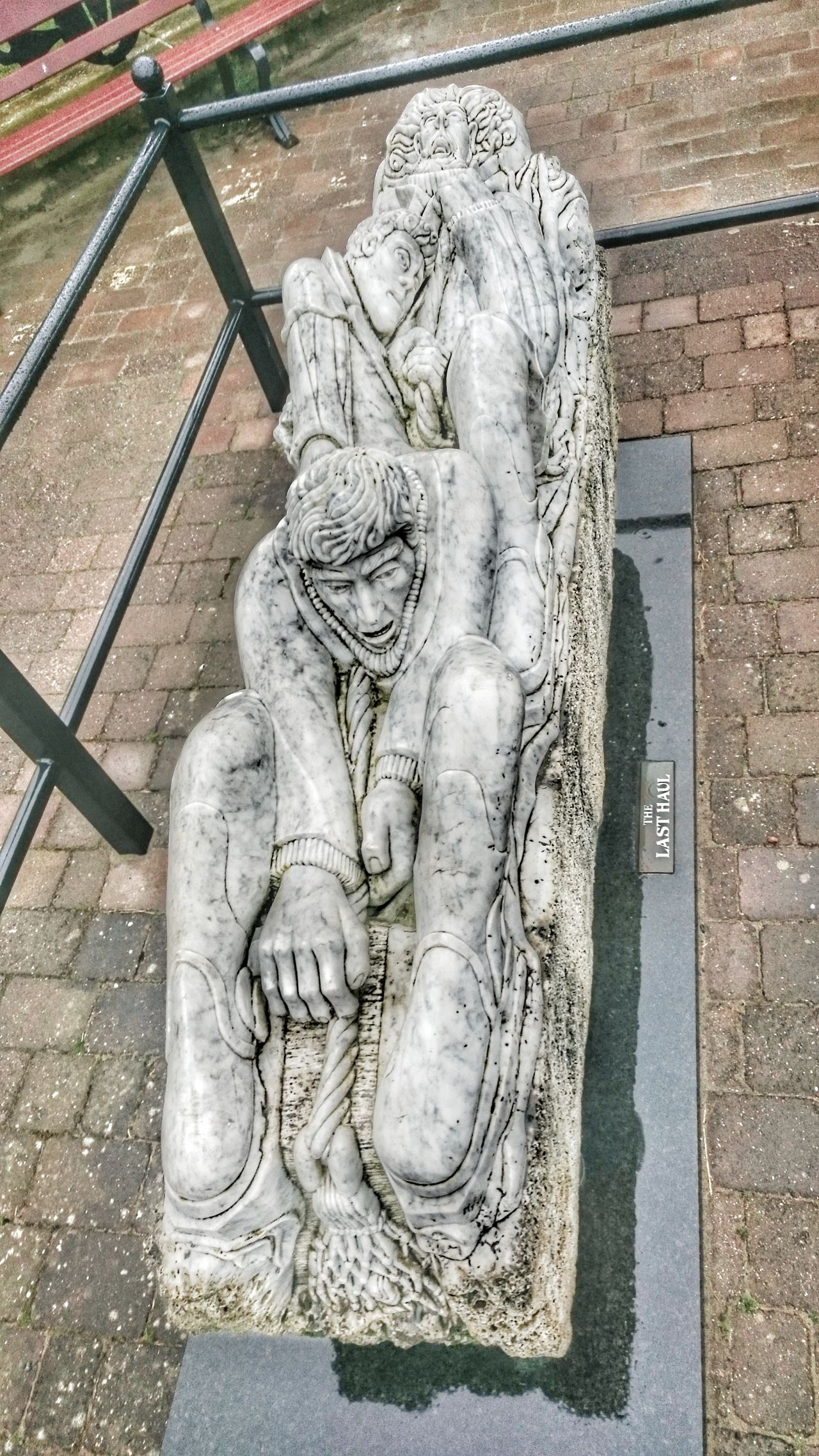 Sculpture High Angle View Human Representation Statue Text Fishermans Life Monument Sculptures Marble Carved Marble Statue Carving