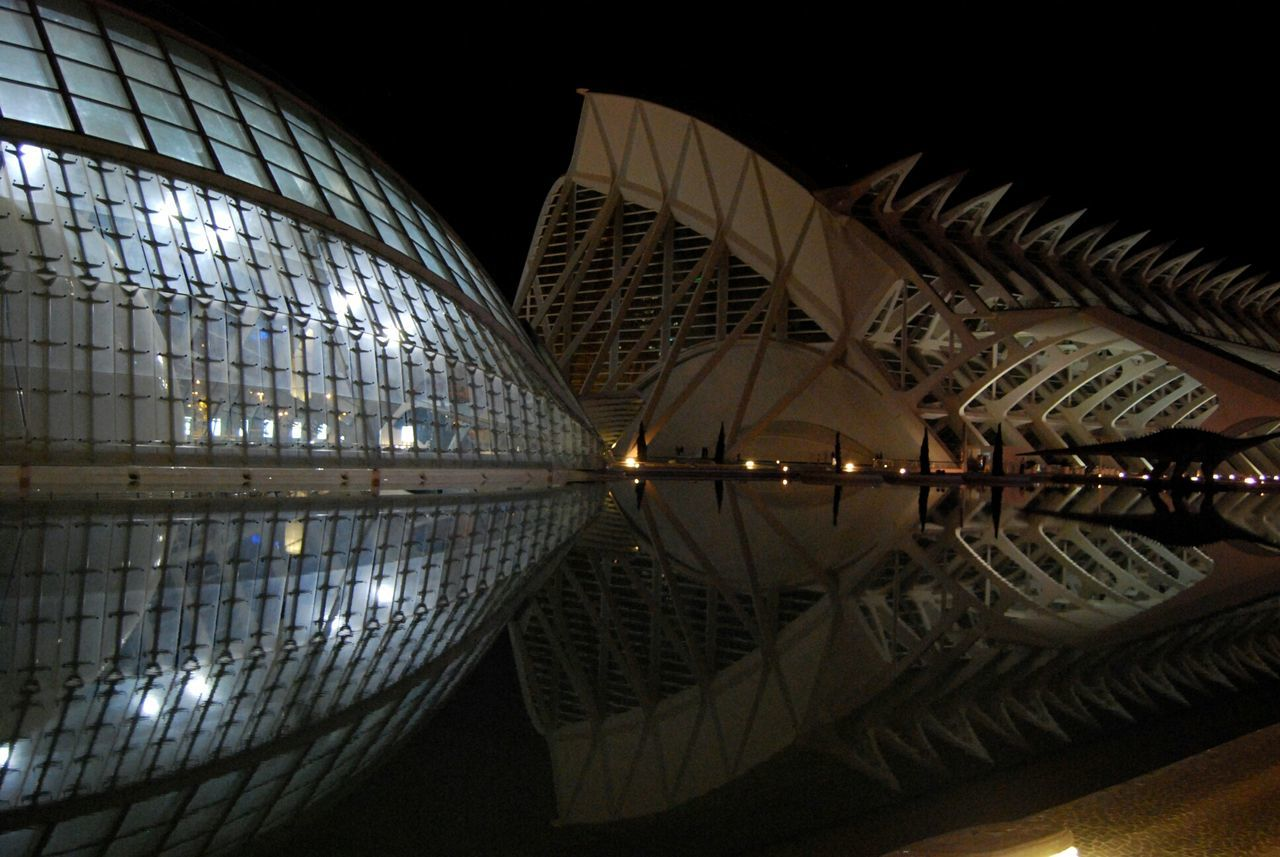 Reflection City Travel Destinations Architecture Illuminated Night No People The City Light Nikon_photography From My Point Of View EyeEm Best Shots EyeEmBestPics EyeEm Gallery Architecture Valencia, Spain Building Exterior Calatrava Ciudad De Las Artes Y Las Ciencias