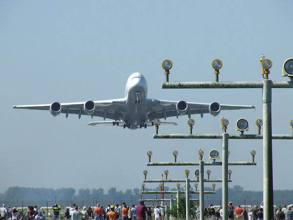 take off A 380 Airbus Baden Airport Blue Day Large Group Of People Lufthansa Outdoors Sky
