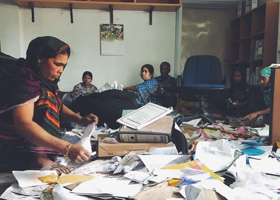 Women Around The World Indoors  Real People People Working Women Women Bangladesh Working Saris Traditional Clothing Only Women