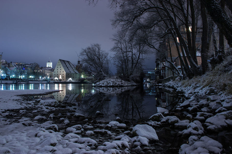 """""""river donau at night"""" Architecture Bare Tree Bridge - Man Made Structure Building Exterior Built Structure City Cold Temperature History Illuminated Nature Nature Night Night Lights Nightphotography No People Outdoors Reflection River Sky Snow Stream - Flowing Water Tree Water Watermill Winter"""