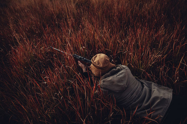 Agriculture Field Focus Grass Gun Hunter Hunting Leisure Activity Lifestyle Man Mature Meat Nature Outdoors People Pointing Prey Relaxation Rural Scene Skill  Sniper Sunflare Sunrise Top Down Weapon