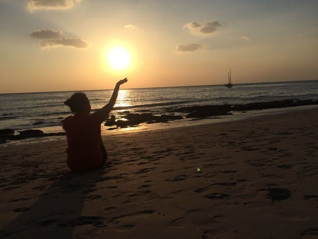 The future is in your hand 😘 43 Golden Moments Gold ILoveMyself Beach NoEditNoFilter Krabi Moon Sea View Sunset - in Koh Lanta Krabi