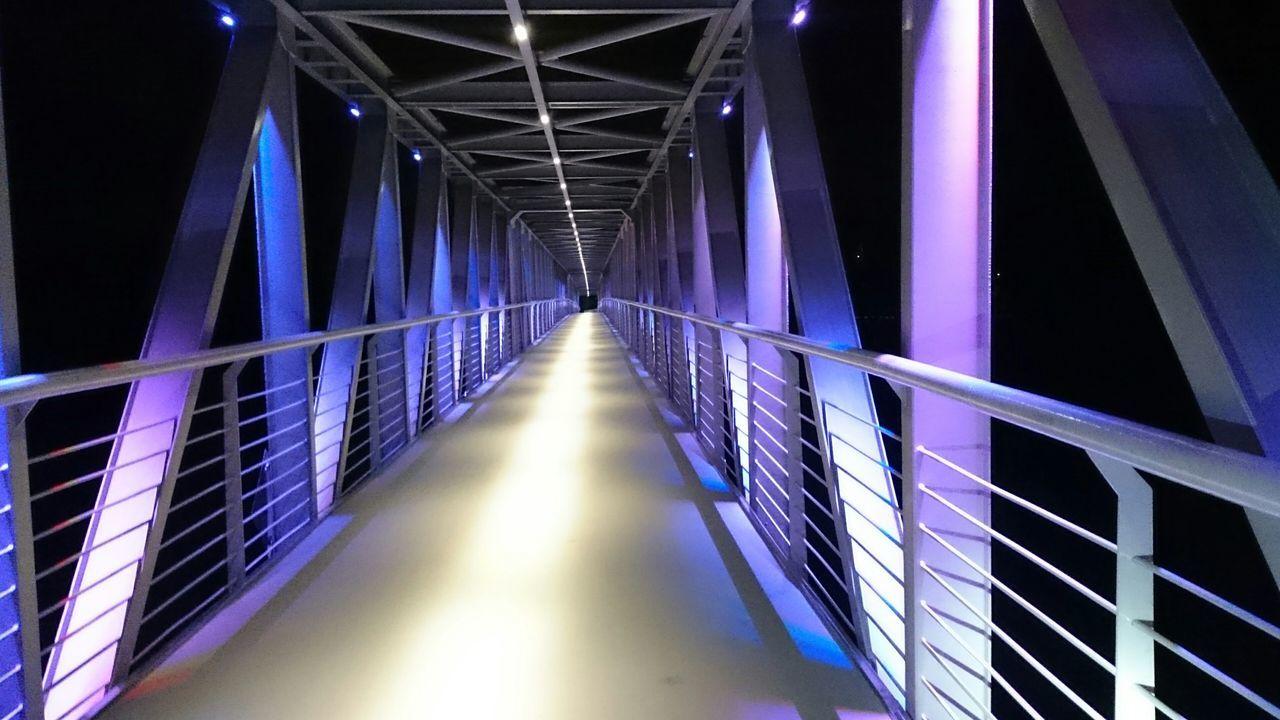 Illuminated Architecture Night The Way Forward Bridge No People