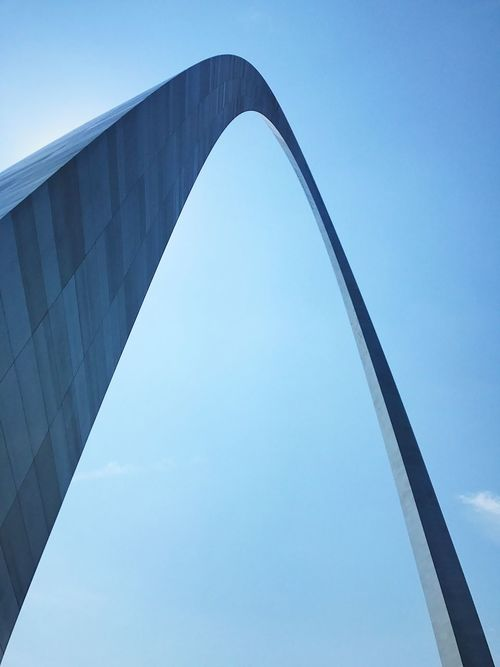 Architecture Built Structure Low Angle View Connection Bridge - Man Made Structure Day No People Outdoors Clear Sky Sky Modern Blue City Close-up Arch St. Louis Arch