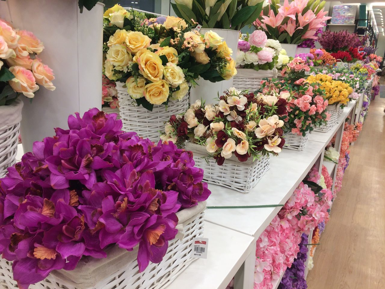 Plastic flower with colourful colour ready for deco. Sell at Kaison Viva City Kuching Sarawak Flower Variation Freshness Fragility Choice Flower Head Bouquet Beauty In Nature Flower Shop Petal Flower Arrangement Multi Colored Indoors  No People Nature Close-up Flower Market Day