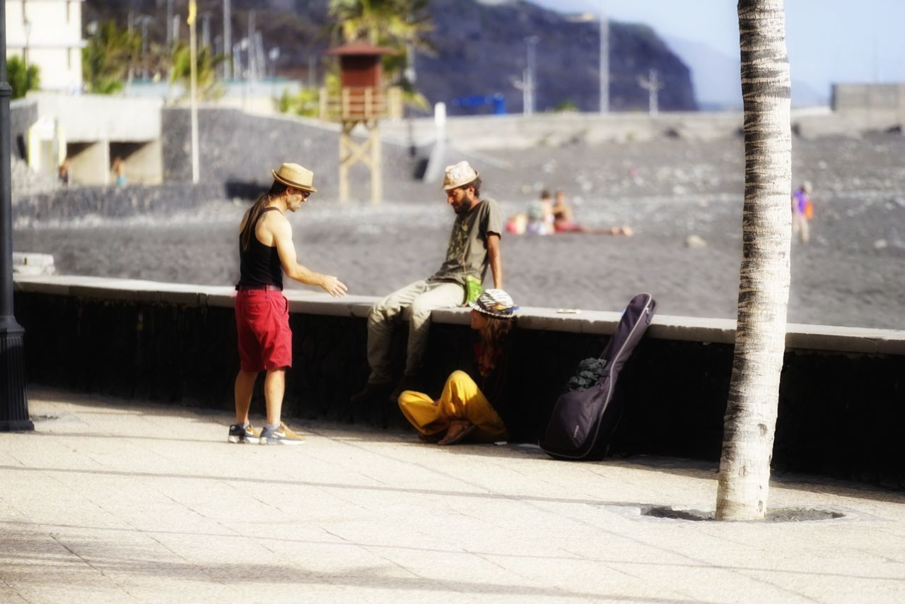 Day Outdoors Water People Togetherness Young Adult Travel Destinations La Palma Island Tazacorte Beach Photography Beach Life Guitar