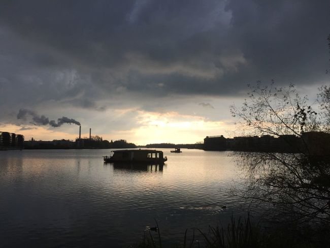 Atmosphere Atmospheric Mood Cloud Cloud - Sky Cloudy Dawn Lake Light Nautical Vessel Outdoors Overcast River Rummelsburg Rummelsburger Bucht Sky Tranquil Scene Tranquility Water Waterfront Winter
