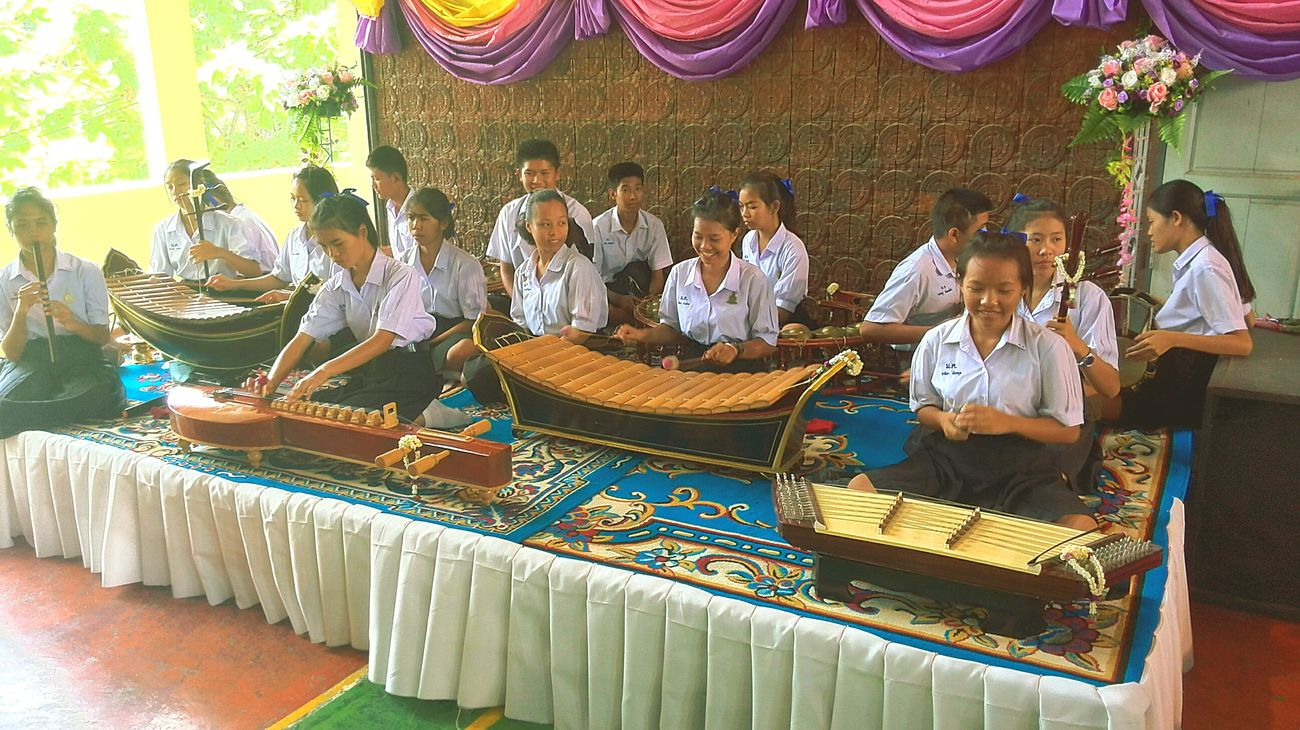 The Color Of School School Traditional Thai music group getting ready for the days ceremony in the hall. Ceremony was Teacher appreciation day. Thailand Tefl English Teacher Traditional Music Traditional Thai Music Thai Instruments Music Instruments