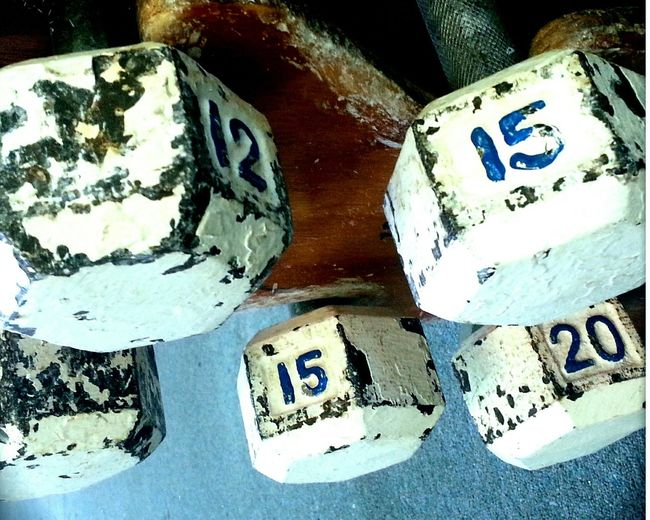 Oldschool Weights Dumbbells Gym Fitness Rust Used