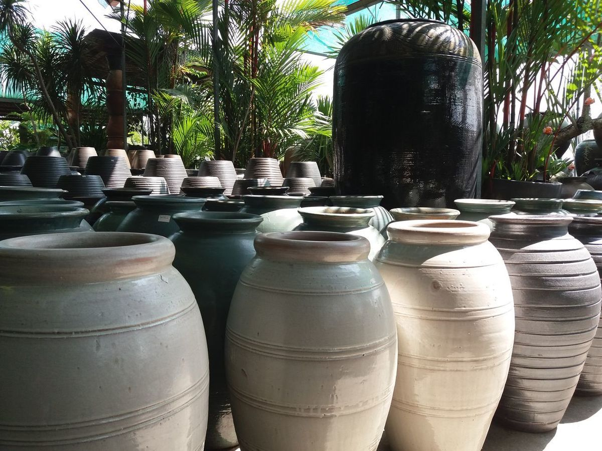 Pottery garden sungei buluh 3 Pottery Clay Earthenware Terracotta Art And Craft Craft Vase Business Finance And Industry Shadow Tree Day Outdoors No People Close-up