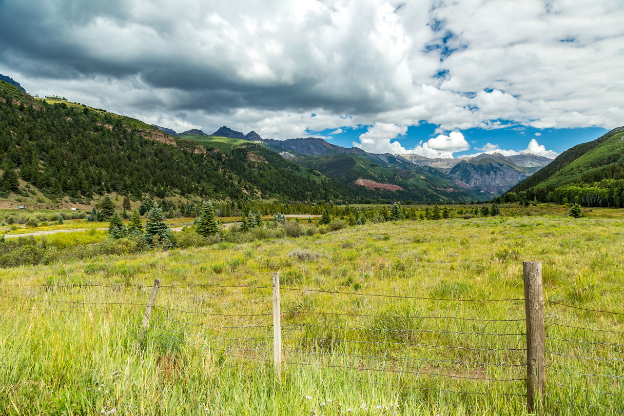 The San Juan Skyway forms a 233 mile loop in southwest Colorado traversing the heart of the San Juan Mountains festuring breathtaking mountain views and includes the portion of US 550 between Silverton and Ouray known as the Million Dollar Highway. Beauty In Nature Cloud - Sky Colorado Cultures Day Grass Landscape Mountain Nature No People Outdoors Rockies Rocky Mountains Rural Scene San Juan Mountains San Juan Skyway Southwest  Southwestern Usa Tranquility Travel Destinations Tree Vacations Valley Winding Road