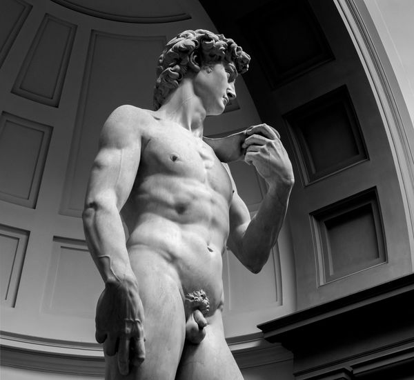 Galerie De Accademia Michelangelo Florence Italy Low Angle View Statue Of David