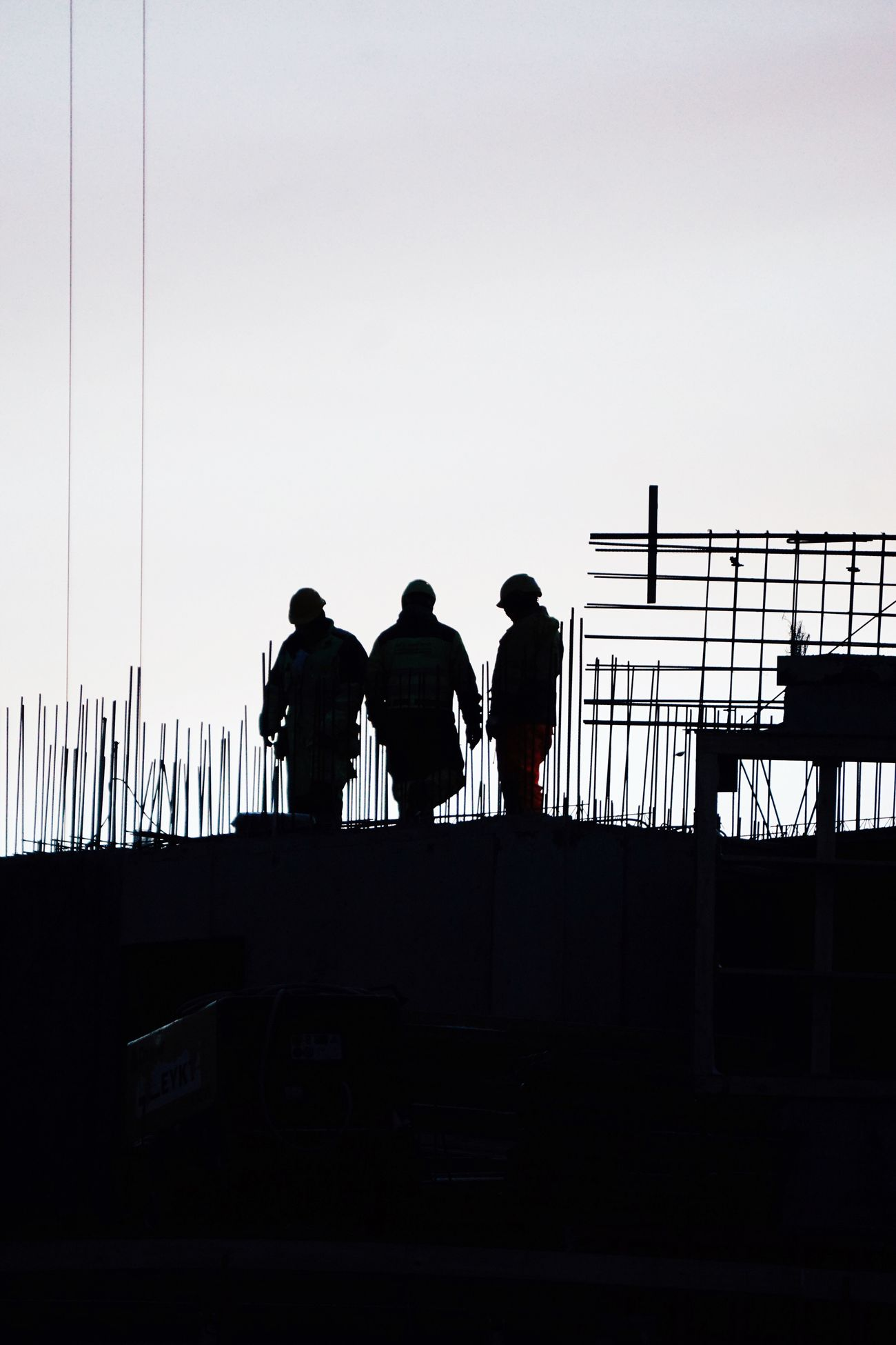 Railing Silhouette Real People Men Sky Work Construction