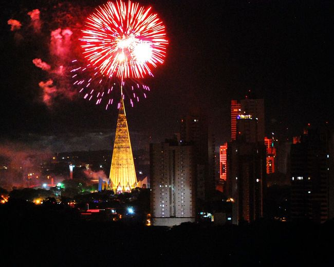 Celebration time! Illuminated Night Firework Display Celebration Exploding Fireworks Tall - High City City View  EyeEm Best Shots EyeEm Gallery EyeEmBestPics Firework Light Red Nice Angle Nikon Church Cathedral Contrast Color Explosion Cool Party Time Outdoors TakeoverContrast