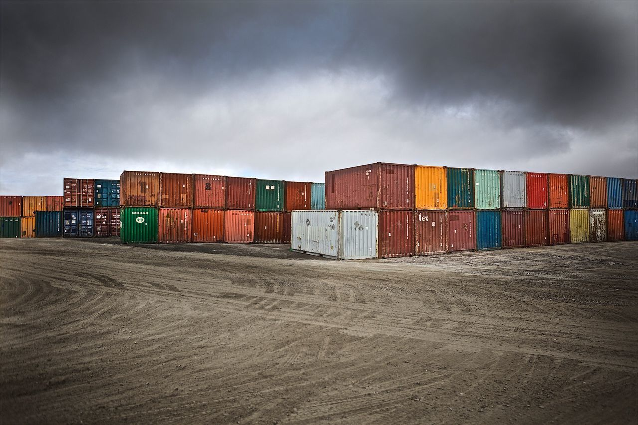 Seacans in Baker Lake no.1. These shipping containers are ubiquitous in the north. Sturdy and spacious, they deliver a multitude of goods from the south. #photography #photographer #filmmaker #filmmaking #dırectorofphotography #dp #director #nunavut #arcticlife #shippingcontainers #seacans Container Cargo Container Shipping  Freight Transportation Business Multi Colored Stack Day No People Sky Outdoors Industry