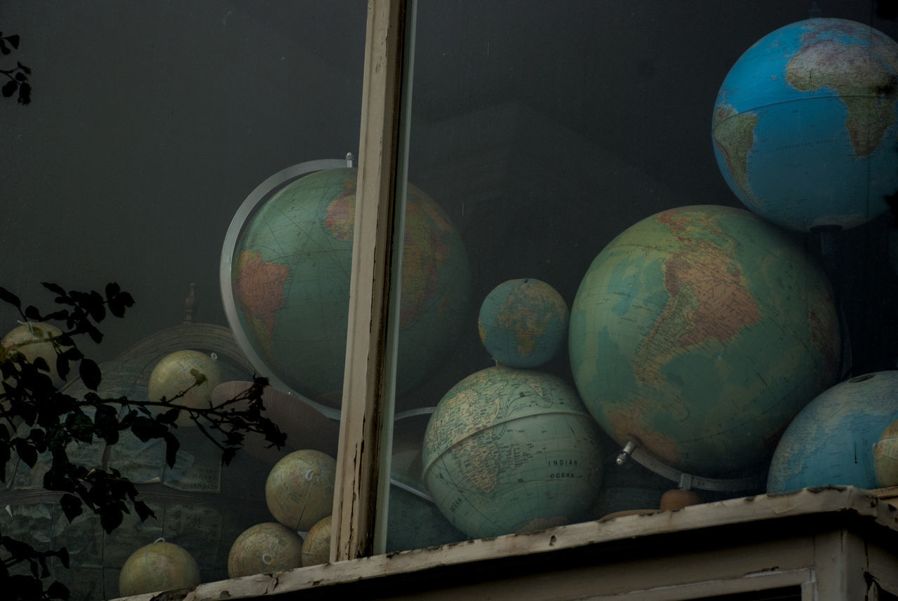old globes behind window Dark, Day Globe Globes Map No People Old Maps Window