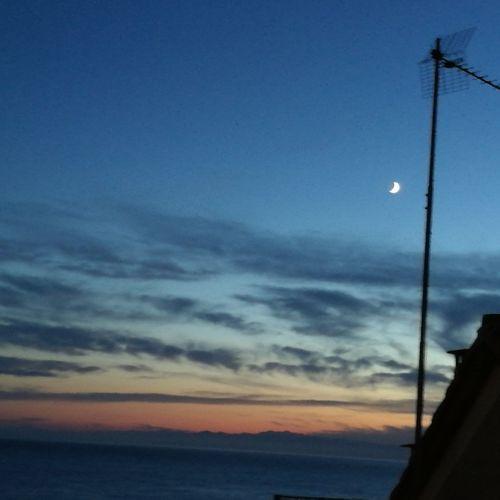 Moon Sky Cloud - Sky Nature Scenics Sunset Sea Astronomy Beauty In Nature Outdoors No People Horizon Night