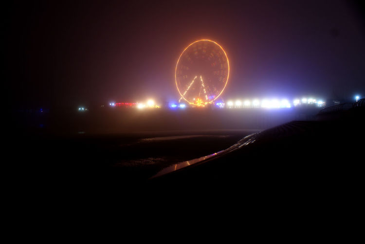 Arts Culture And Entertainment Atmosphere Blackpool Blackpool Beach Blackpool Central Pier Blackpool Lights Blackpool Promenade Dusk Ferris Wheel Fog Foggy Foggy Night Glowing Interior Lights  Night Night Lights Night Photography Nightphotography