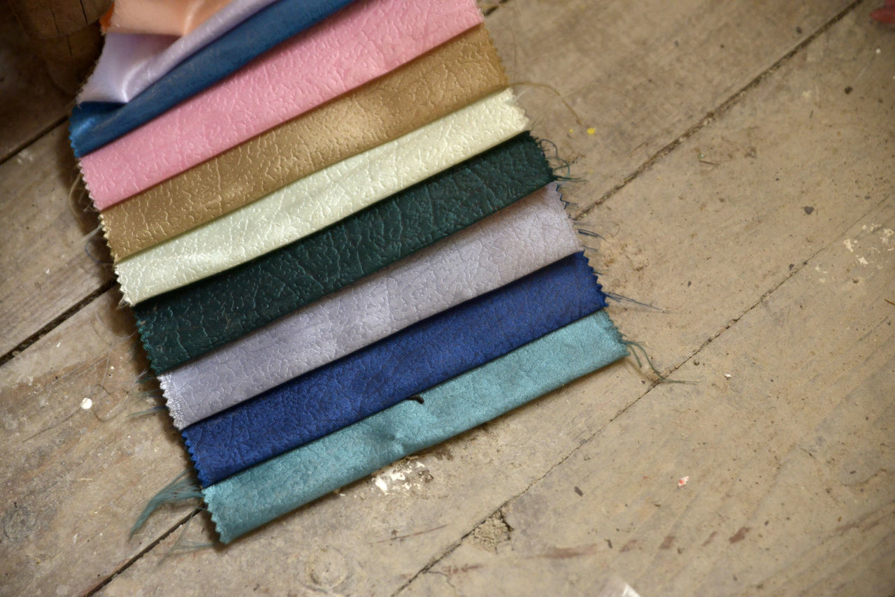 set of fabric Blue Canvas Choice Close-up Colorful Day Fabric High Angle View Indoors  Multi Colored No People Pieces Sampa Samples Set Stack Textile
