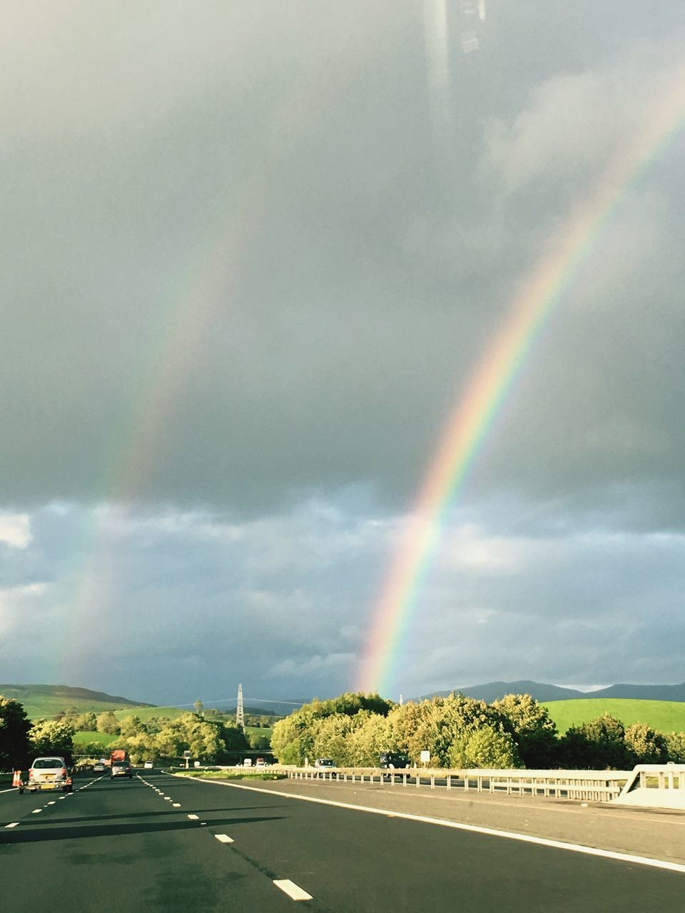 rainbow, double rainbow, cloud - sky, sky, scenics, weather, road, multi colored, beauty in nature, tranquility, day, nature, outdoors, tranquil scene, no people, tree