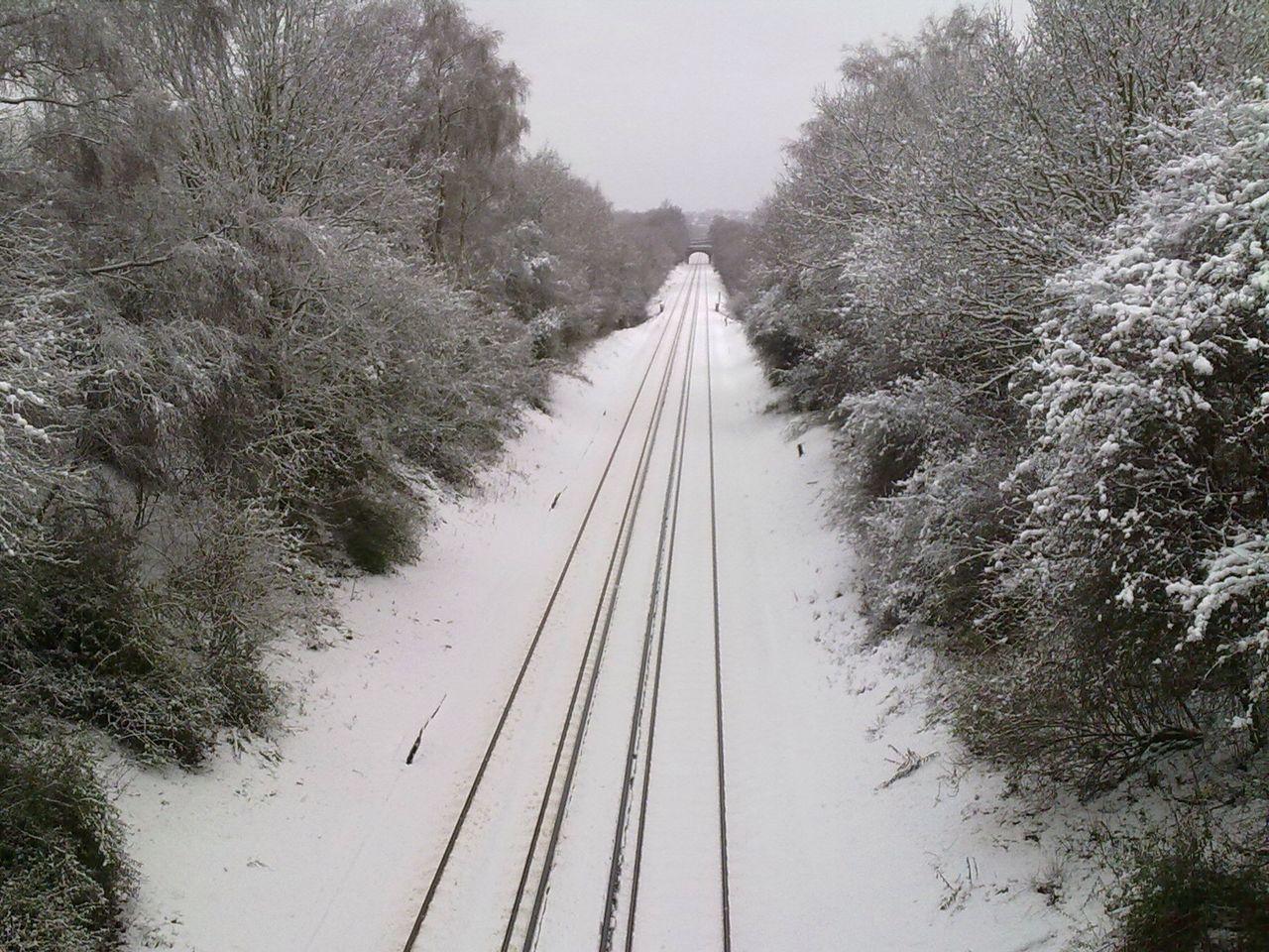Train line Railway Tracks Railway Train Line Winter Snow Snow Covered Vanishing Point Transport