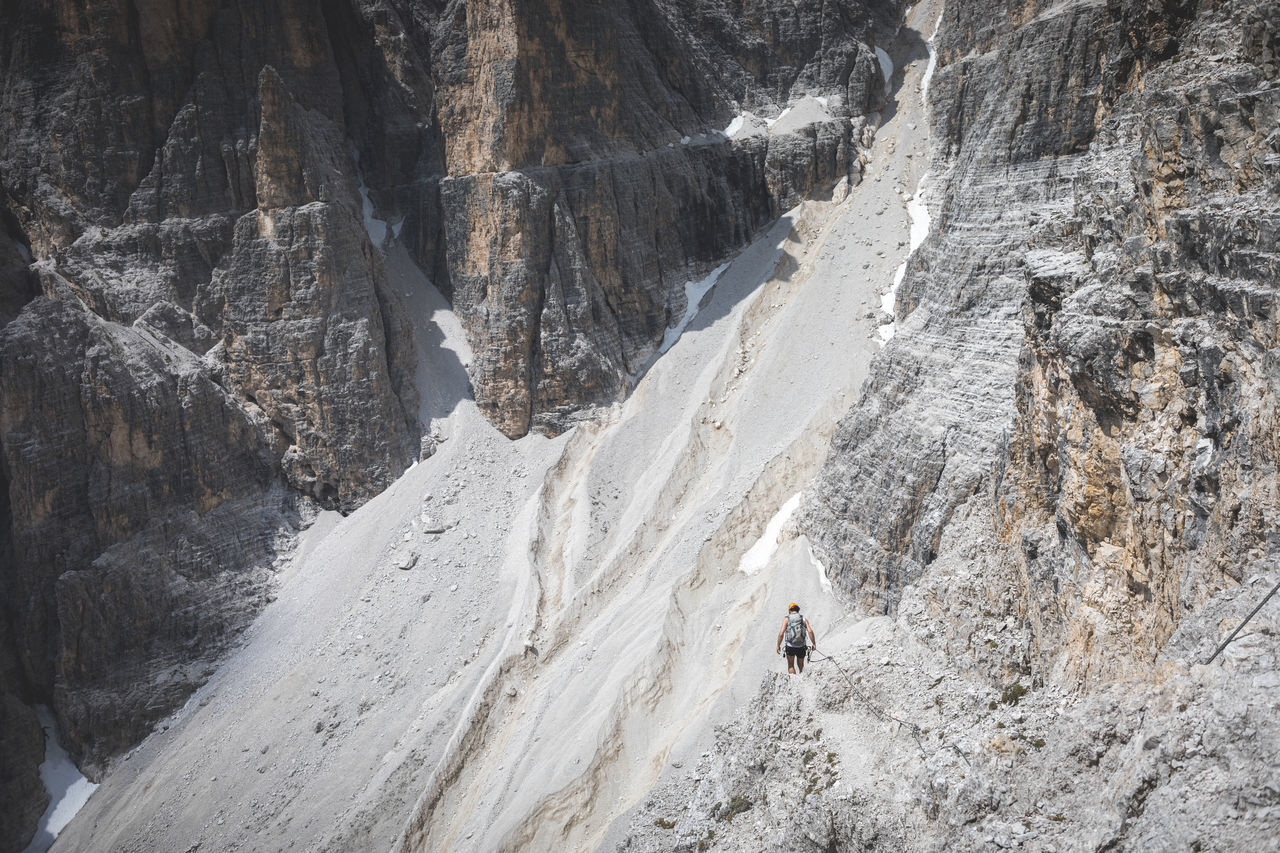 Who would also enjoy walking this trail? It is a different world up there... so addictive😌 Adventure Climbing Dolomites, Italy Exploring Friend Hiking Landscape Mountain New Outdoors Rock Shadow Snow Steep Travel