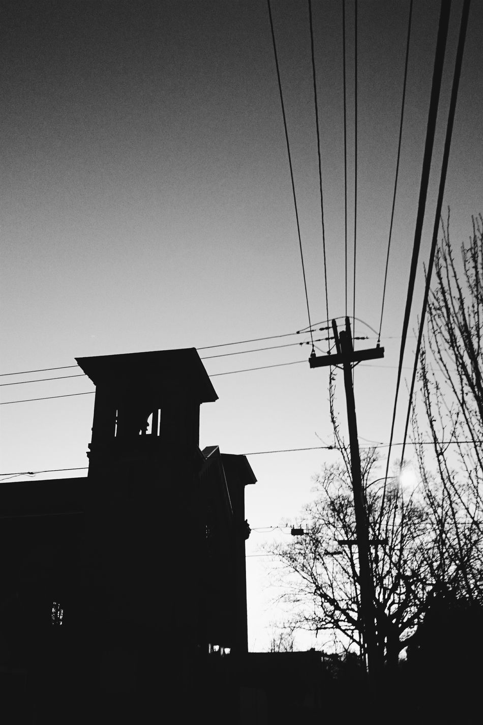 Urban Geometry Church Silhouette Dusk Dusk In The City Black And White Blackandwhite Monochrome Power Lines Portland North Portland My Neighborhood