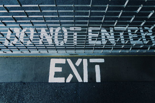 Do not enter Words Exit Exit Sign Signs Ground Art Grey Gray Fence Enter San Francisco