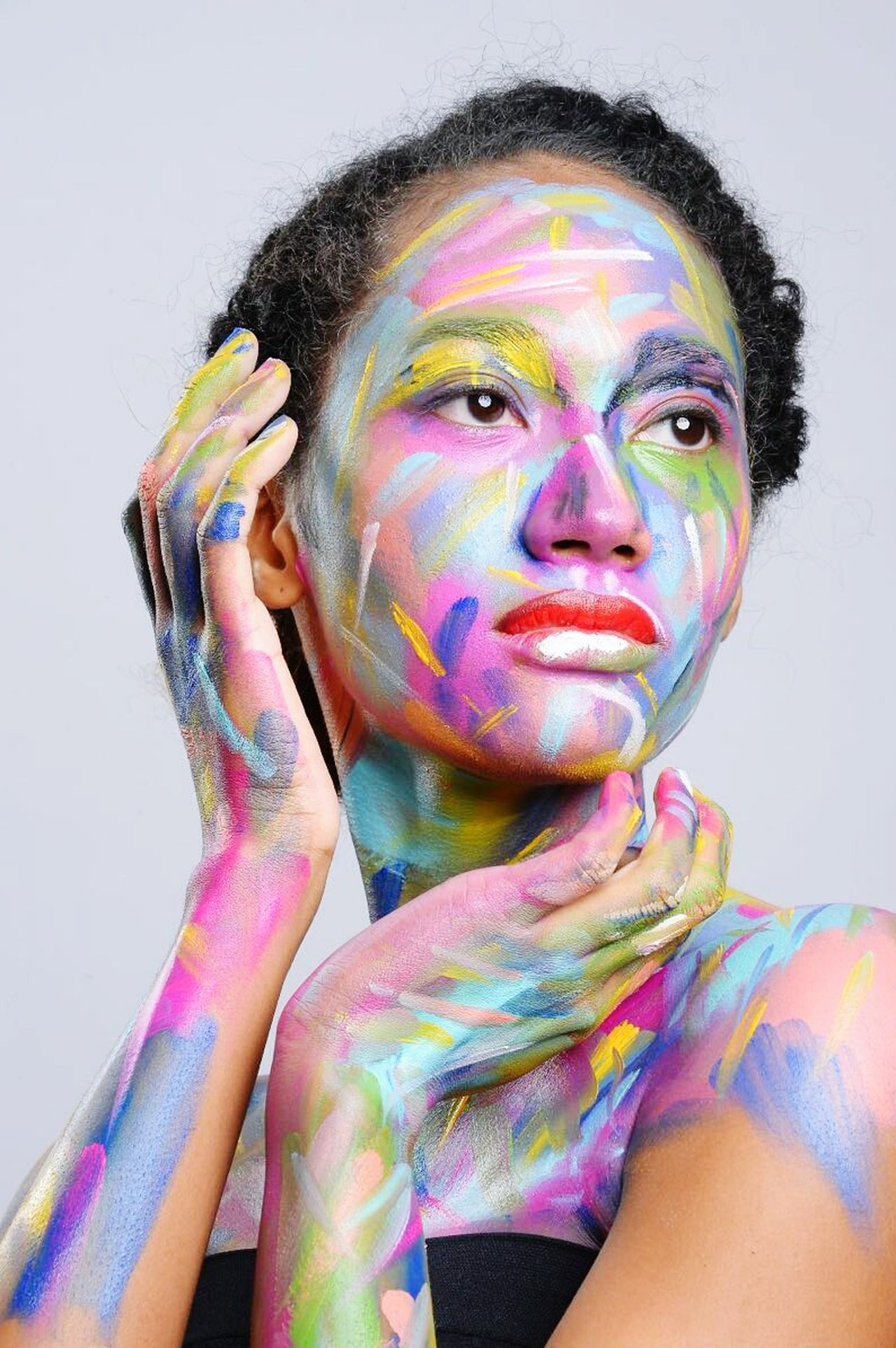 Uniqueness Multi Colored Only Women Studio Shot Beauty Face Paint Abstract Art And Craft Close-up Paint Photoshoot Catmom Dancer Model Modelling Pastrychef